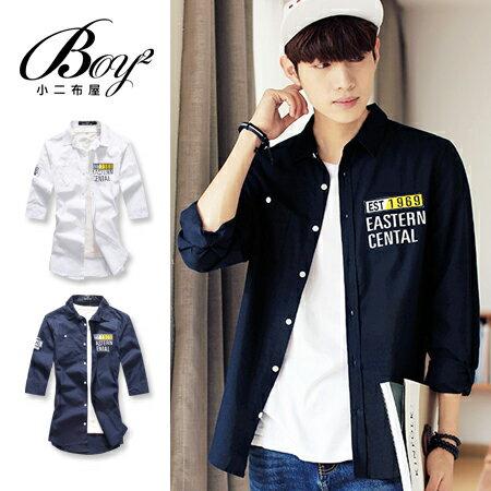 ☆BOY-2☆【OE50221】韓版素面七分袖電繡男裝襯衫 0