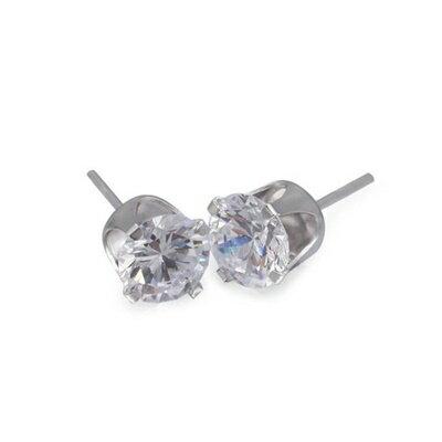 925純銀耳環鑲鑽耳飾~簡潔亮眼精緻小巧母親節生日情人節 女飾品73dm188~ ~~米蘭