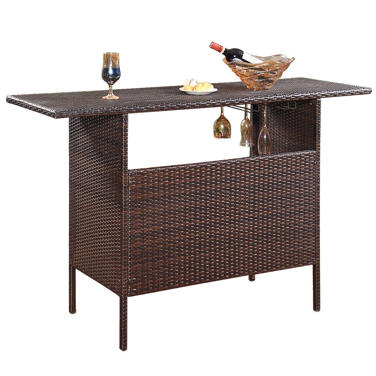 33a288a44fca Costway Outdoor Rattan Wicker Bar Counter Table Shelves Garden Patio  Furniture Brown 0