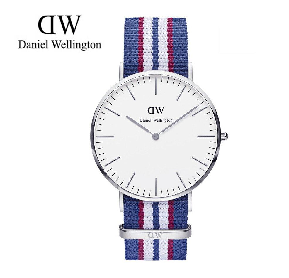 瑞典正品代購 Daniel Wellington 0213DW 銀 尼龍 帆布錶帶 手錶腕錶 40MM 0