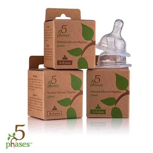 5phases菲斯 - 成長5階段防脹氣安心奶嘴 1號圓孔 (0-3m) 2入 0