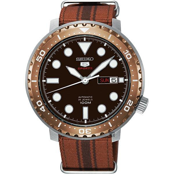 Seiko精工錶4R36-06N0J(SRPC68J1)復刻運動5號機械腕錶腕錶咖啡*帆布帶45mm