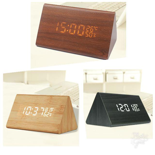 【現貨 】USB 聲控 木質時鐘 簡約時尚  電子鬧鐘 日期 溫度 濕度 萬年曆 迷你鬧鐘 LED 3