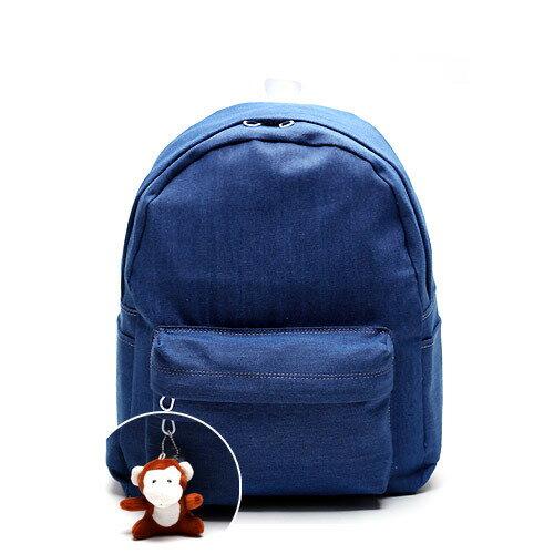 後背包 韓國AFRICA RIKIKO 丹寧牛仔布素面後背包 書包 NO.125 ??(Denim blue) - 包包阿者西