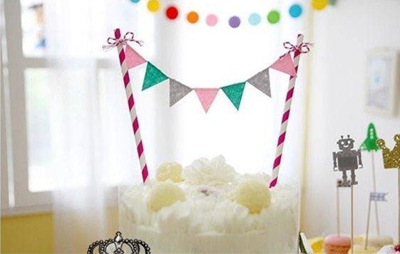 =優生活=促銷全系列$99韓國七彩三角旗 生日派對婚慶蛋糕裝扮小插旗蛋糕拉旗裝飾品 慶生蛋糕佈置 野餐佈置 婚禮派對佈置