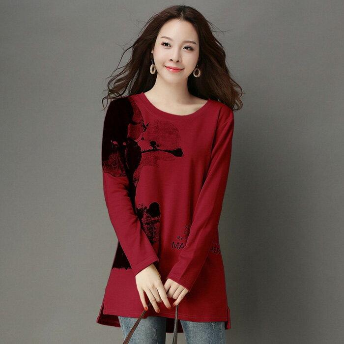 糖衣子輕鬆購【DF6053】韓版時尚百搭印花加絨加厚長版上衣T恤 - 限時優惠好康折扣