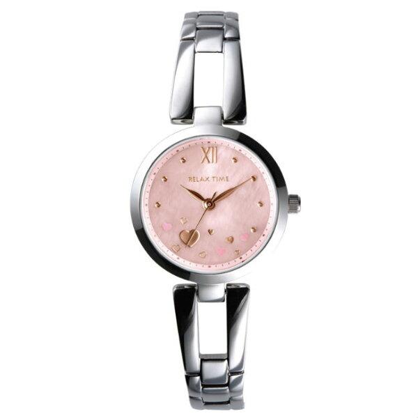 RELAXTIME小資微甜錶款錶愛心x粉紅貝殼(RT-71-2)28mm
