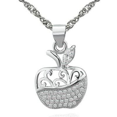 925純銀項鍊 鑲鑽吊墜~可愛典雅蘋果 母親節情人節生日 女飾品73dk304~ ~~米蘭