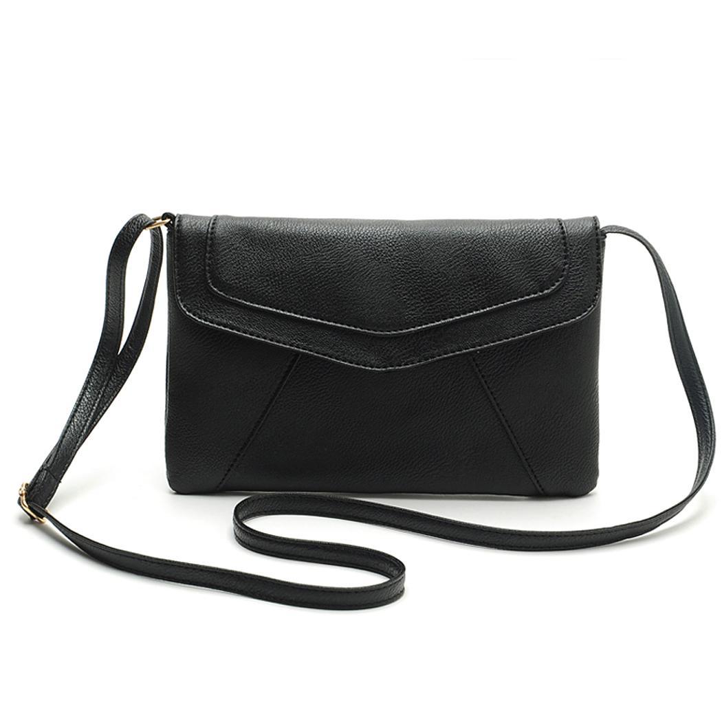 Ladies Leather Pure Color Hasp Closure Messenger shoulder Bag 0