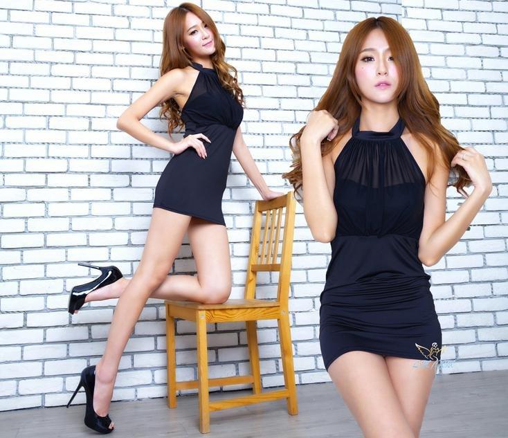 C1502  性感夜店女裝帶胸墊綁帶露背火辣名媛緊身超短裙洋裝 2色