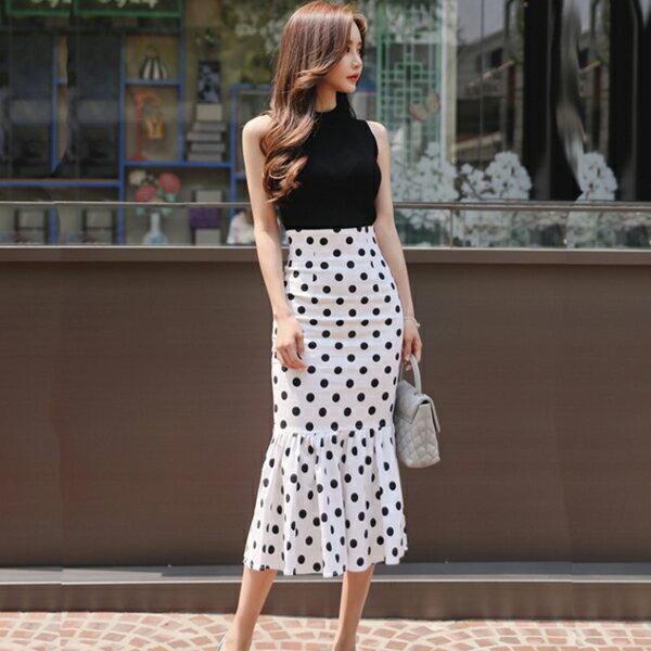 PS Mall 毛針織背心+大牌氣質顯瘦波點魚尾裙套裝 上衣+裙子【T482】 2