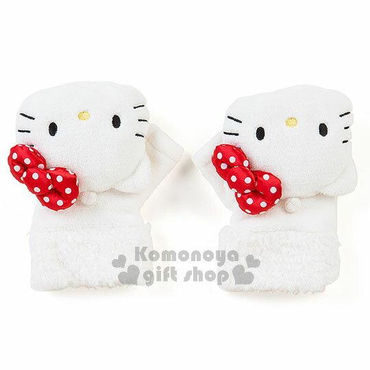 〔小禮堂〕Hello Kitty 造型2way絨毛手套《白.大臉.點點蝴蝶結》2017溫暖冬季系列