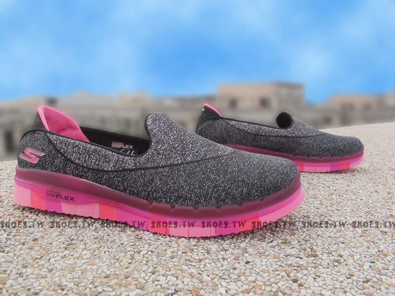Shoestw【81078LBKHP】SKECHERS 中童鞋 GoFlex 超軟Q底 黑灰 桃紅 好穿脫 女生可以穿