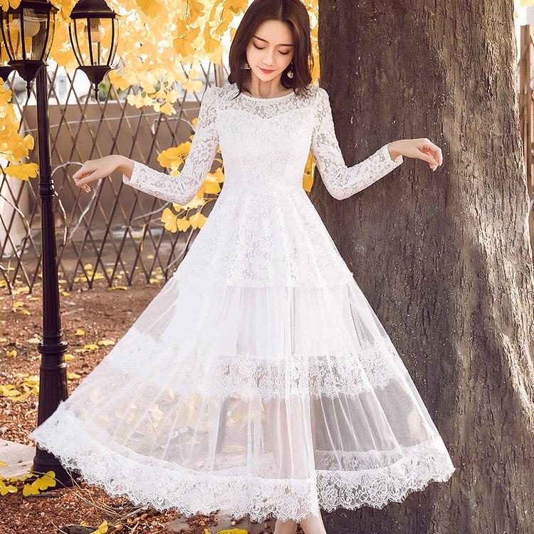 灰姑娘[18028-QF]圓領透視撫媚花朵蕾絲長洋裝~秋裝新款~