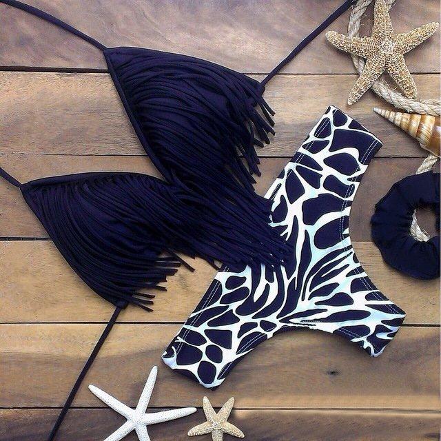 AB364 歐美新款豹紋火辣性感流蘇綁帶丁字比基尼兩件式泳衣泳裝 附胸墊