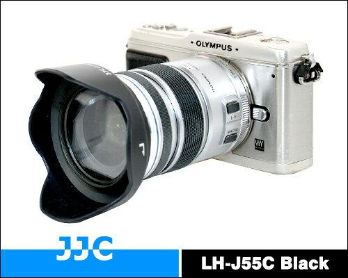 我愛買#JJC副廠Olympus遮光罩(黑色)MZD 12-50mm 1:3.5-6.3 EZ ED遮罩M.ZD具消光紋倒裝同Olympus原廠遮光罩LH-55C遮光罩OM-D E-M5 M1 kit..