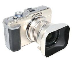 又敗家@JJC副廠Olympus遮光罩LH-48遮光罩(銀色,金屬製,可反裝,相容Olympous原廠遮光罩LH-48太陽罩)LH48遮光罩適MZD M.Zuiko Digital 12mm F2.0 F/2.0 1:2.0 Micro M.ZD遮陽罩遮罩lens hood