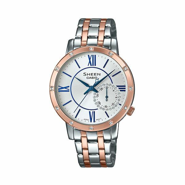 CASIOSHEENSHE-3046SGP-7B三眼三圈日期星期時尚腕錶37mm