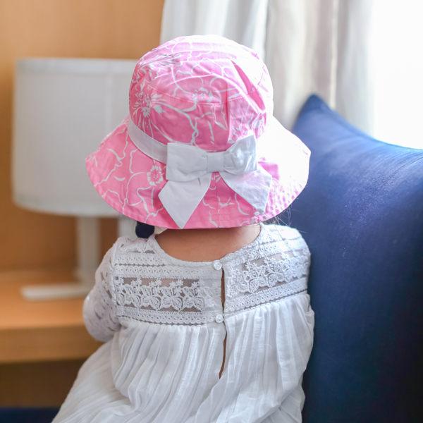 EMMA商城~外貿原單春夏粉色女童花朵印花帽寶寶遮陽帽嬰幼兒純棉童帽