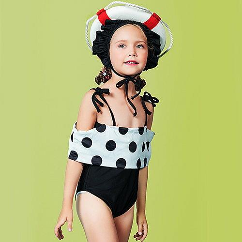 BOBI:兒童泳裝黑白點點造型個性連身細肩帶兒童泳裝【SFC2016】BOBI1214