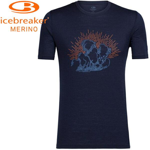 Icebreaker排汗衣短袖T恤美麗諾羊毛TechLite男圓領短袖上衣JN150IB104133401攀上雲端深藍