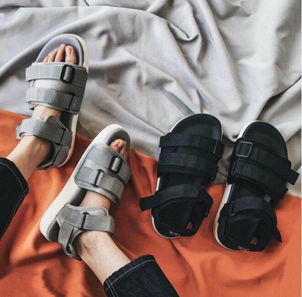 FINDSENSEMD韓國時尚休閒潮男透氣織帶魔術貼涼鞋男女情侶涼鞋拖鞋海灘鞋