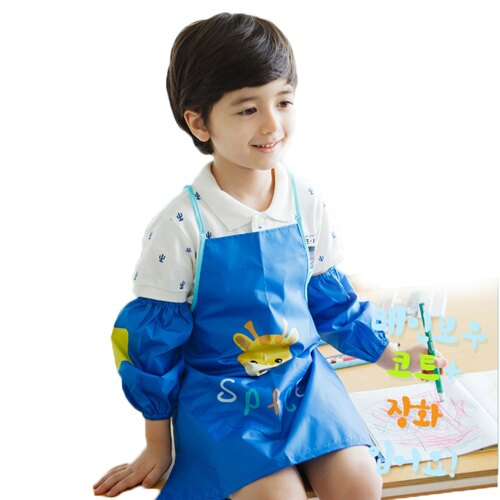 Kocotree◆可愛小鹿長頸鹿卡通造型防水防髒環保畫畫衣-深藍色