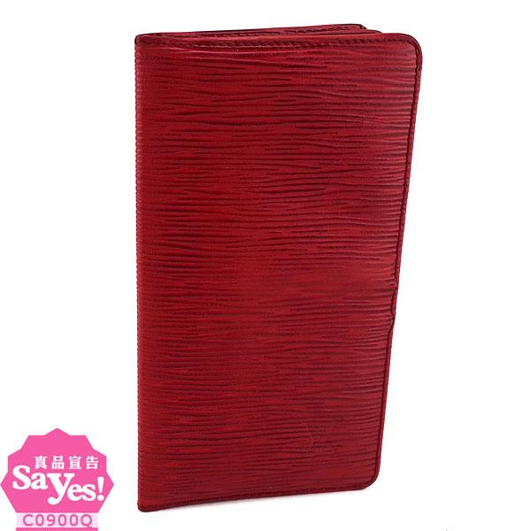 【奢華時尚】秒殺推薦!LV M63737 紅色EPI麥穗壓紋牛皮對折長夾(八成新)#21693