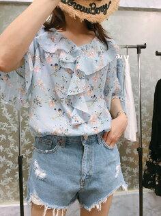 [CHIA]韓國代購回台藍夏季花朵雪紡上衣