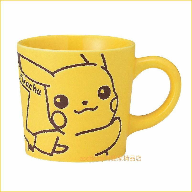 asdfkitty可愛家☆日本金正陶器 寶可夢 皮卡丘黃色陶瓷馬克杯-260ML-可微波-025362-日本製
