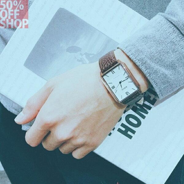 50%OFFSHOP社會精神小夥網紅天佑劉大美同款長方形手錶真皮帶情侶腕錶(8色)【H034731WH】