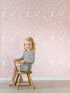 「庫存有現價格」兒童房女孩房粉色動物纹壁紙荷蘭LittleDutchAdventurepink8683