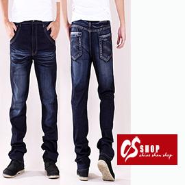 【CS衣舖 】加大尺碼 個性刷白 造型口袋 中直筒牛仔褲 7224
