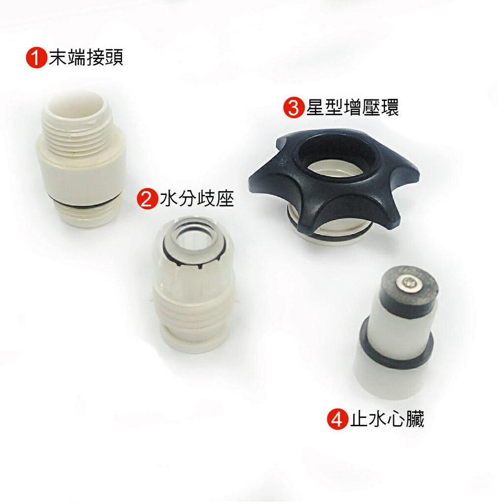 MOTELY魔特萊 加壓式/ 按壓式百變 SPA 省水蓮蓬頭專用配件賣場 水分歧座/星型增壓環/止水心臟/末端接頭