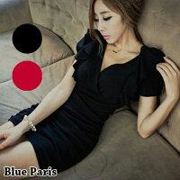 時尚洋裝 小禮服推薦到短洋裝 - V領荷葉短袖修身連身裙【29052】現貨《2色》藍色巴黎