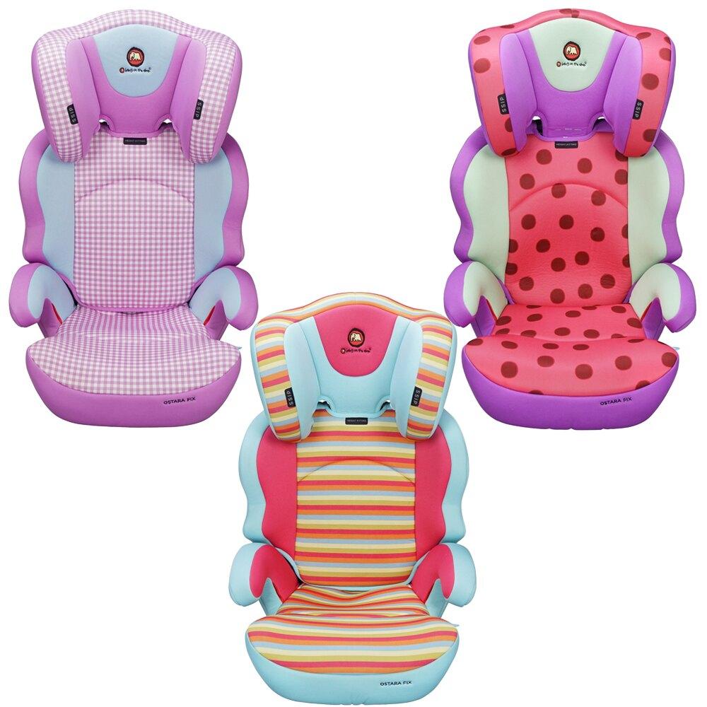 英國【Mombella & Apramo】OSTARA FIX 3-12歲成長型汽車安全座椅-卡通系列(貓咪、兔子、大象)