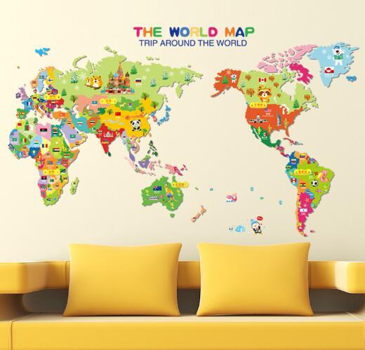 WallFree窩自在★DIY無痕壁貼/牆貼-XL7123-卡通動物地圖