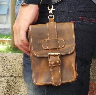 真皮手機腰包-休閒復古瘋馬皮 皮帶扣 手機袋 三星 手機包 掛包 真皮包 收納包 相機包(黃褐色)