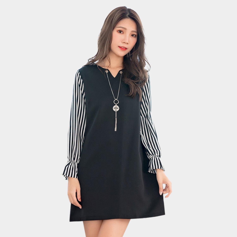 氣質洋裝--典雅條紋撞色拼接荷葉個性流蘇項鍊A字寬鬆長袖連衣裙(黑L-3L)-A376眼圈熊中大尺碼 0