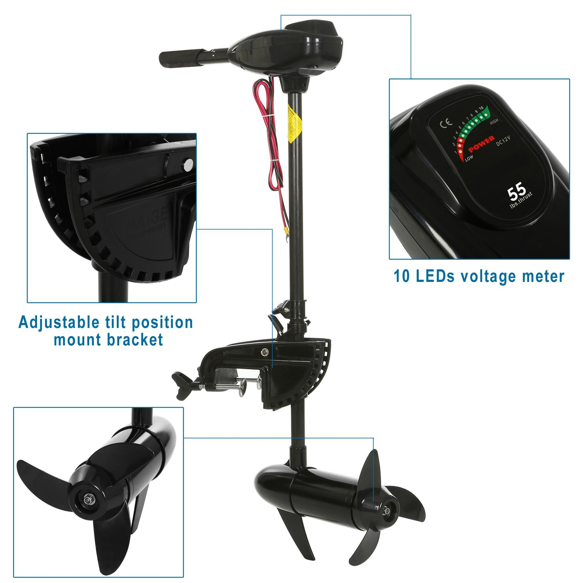 Black 12V 55 Pound Thrust Ship Boat Electric Trolling Motor Hand Control 1