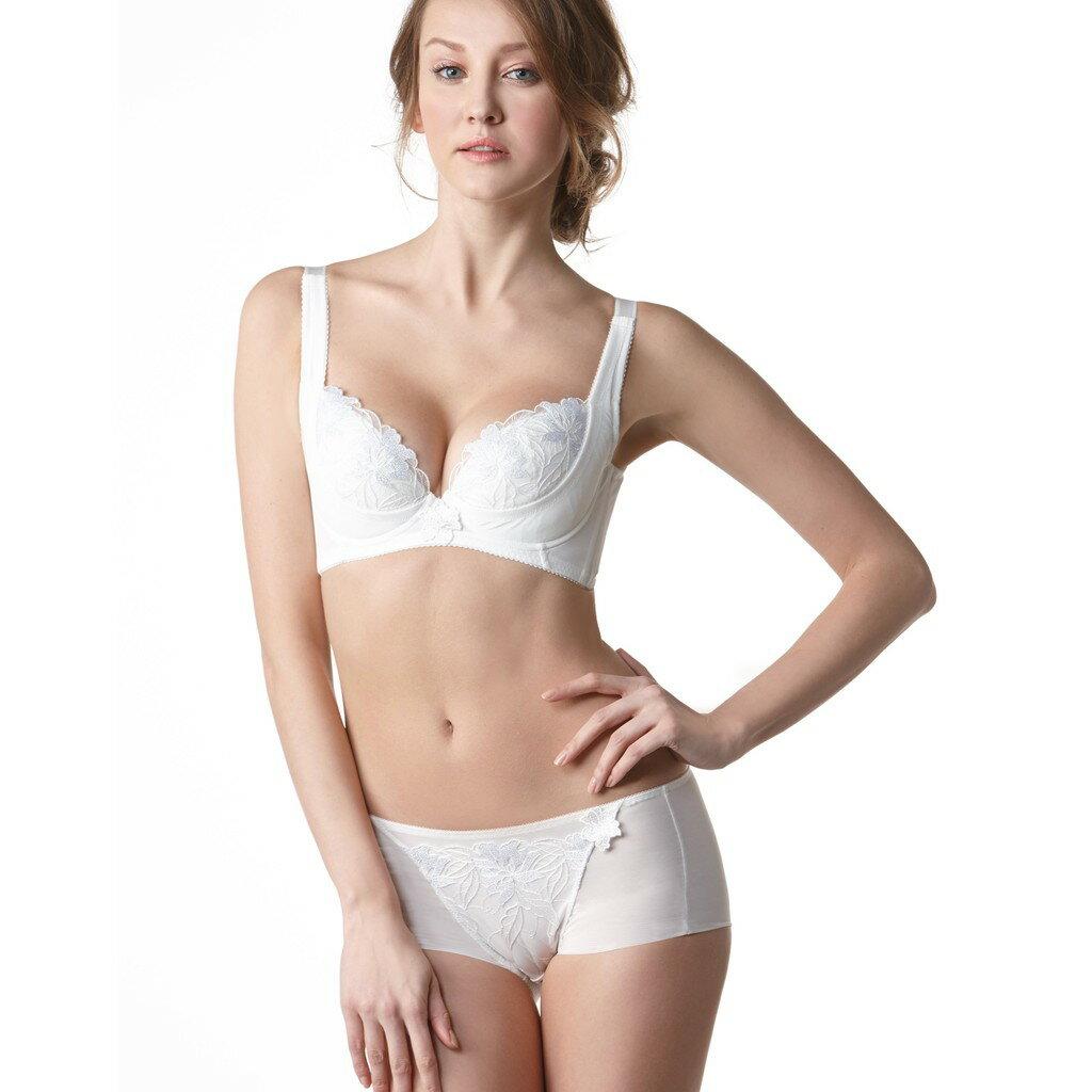 Lady安布羅莎系列機能調整型B-G罩杯內衣(暮光白) 2
