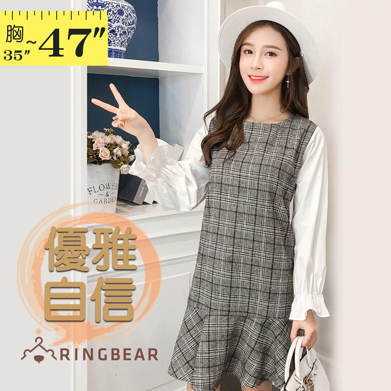 長版上衣--時尚優雅拼接格紋荷葉袖寬鬆A字修身長上衣(灰L-3L)-X329眼圈熊中大尺碼 1