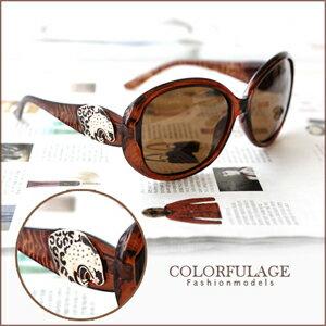 太陽眼鏡 側邊豹頭豹紋設計復古大圓框墨鏡 獨家發售 柒彩年代【NY193】單支價格