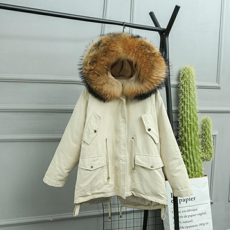 羽絨夾克連帽外套-貉子毛領短版寬鬆抽繩女外套4色73wc27【獨家進口】【米蘭精品】