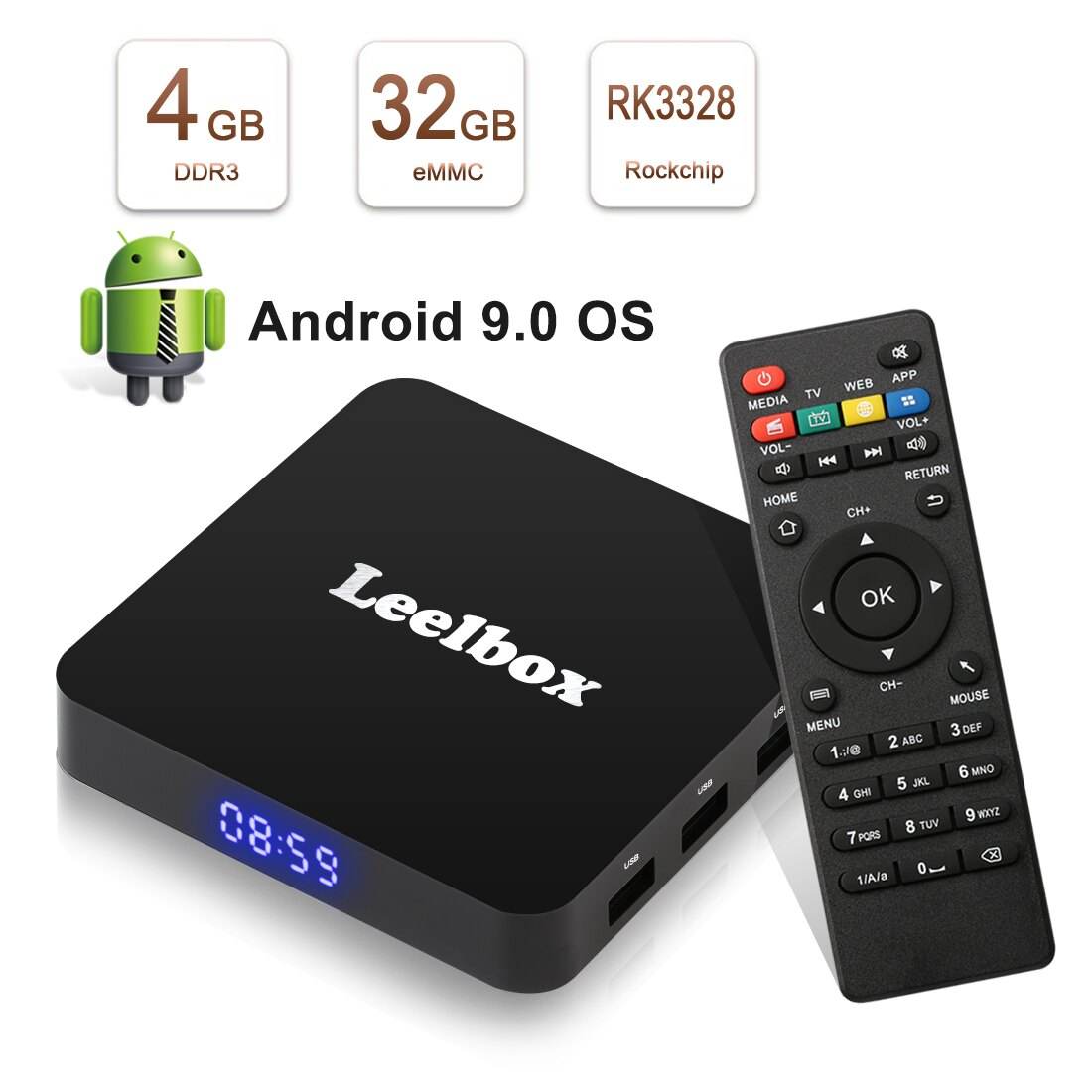 Leelbox Q4 Android 9 0 TV Box 4G+32GB Android TV Box RK3328 Quad Core Media  Player