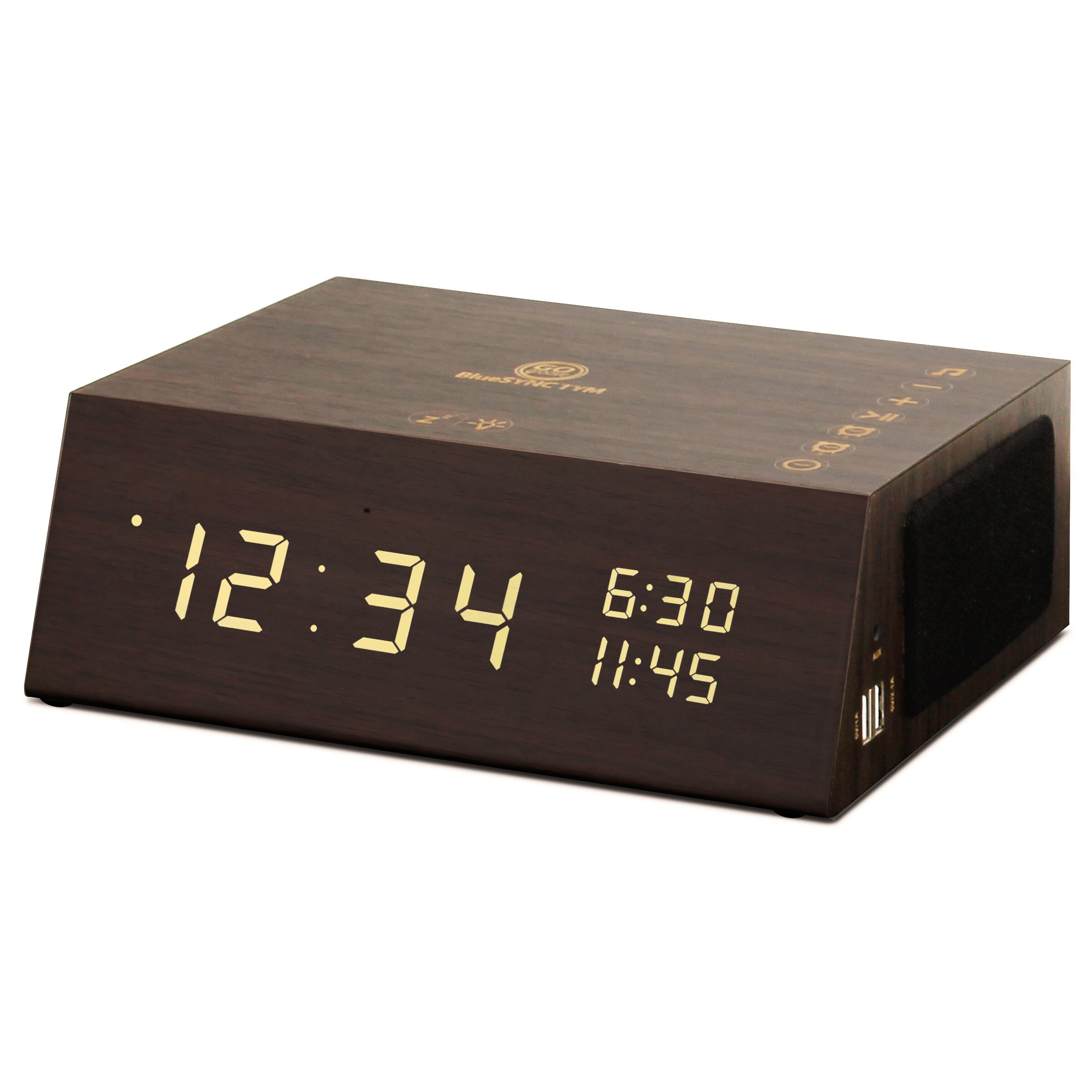 Bluetooth Alarm Clock Radio Speaker by GOgroove - Wood , FM Radio , Dual Alarms , USB Charging Ports 0