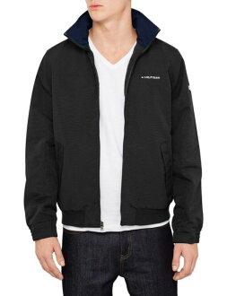 美國百分百【全新真品】Tommy Hilfiger 外套 收納帽 防水 TH 夾克 大衣 風衣 黑色 男衣 S M B994