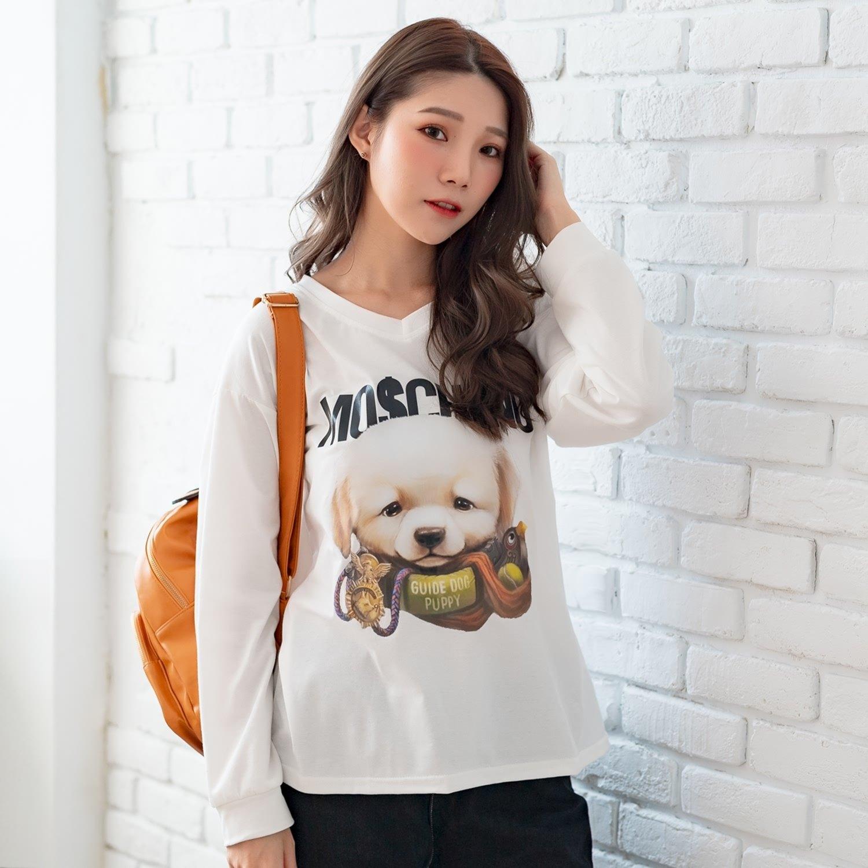 棉T--超萌可愛小狗導盲犬英字印花寬鬆修身舒適V領長袖T恤(白.紅L-3L)-F155眼圈熊中大尺碼 0