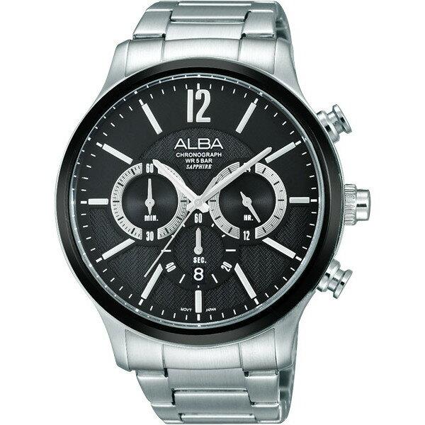 ALBA VD53-X191D(AT3723X1)都會三眼計時腕錶/黑面45mm