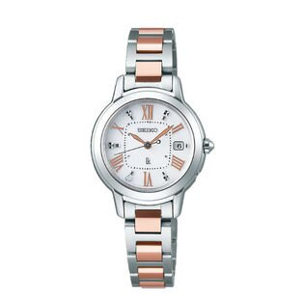 Seiko精工錶Lukia系列1B22-0CK0KS(SSQW037J)太陽能鈦金屬電波女錶-銀x雙色26mm